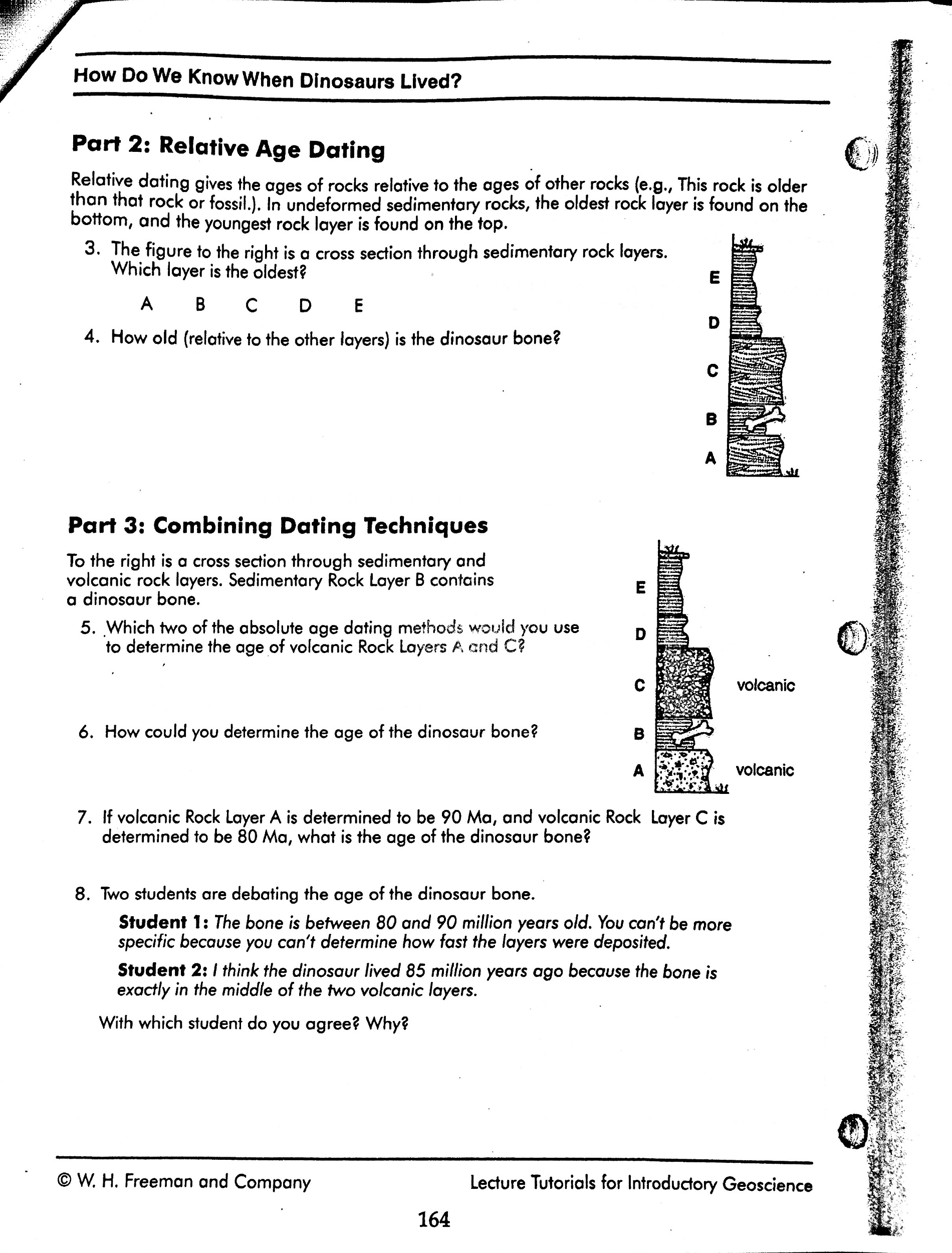 Relative Dating Fossils Worksheet