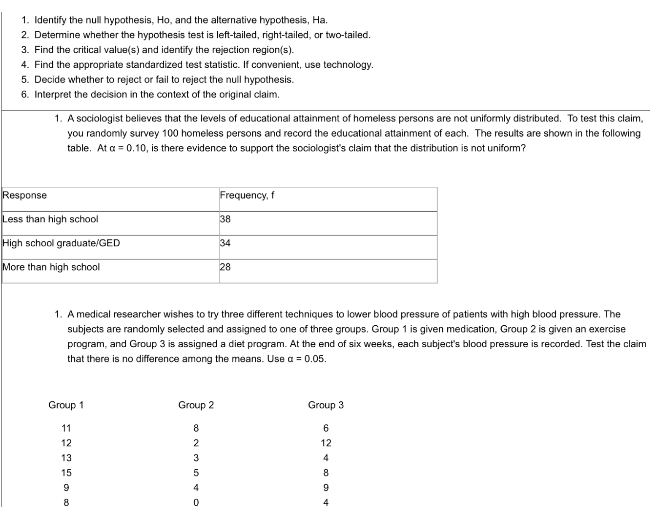 Solved Number 1 Is A Chi Square Test While Number 2 Is An