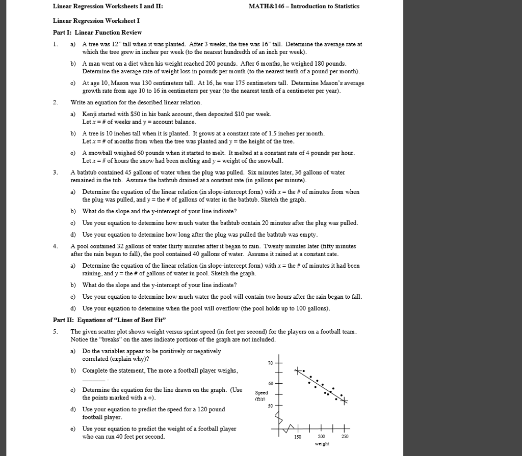 Solved Math Amp 146 Introduction To Statistics Linear Regress