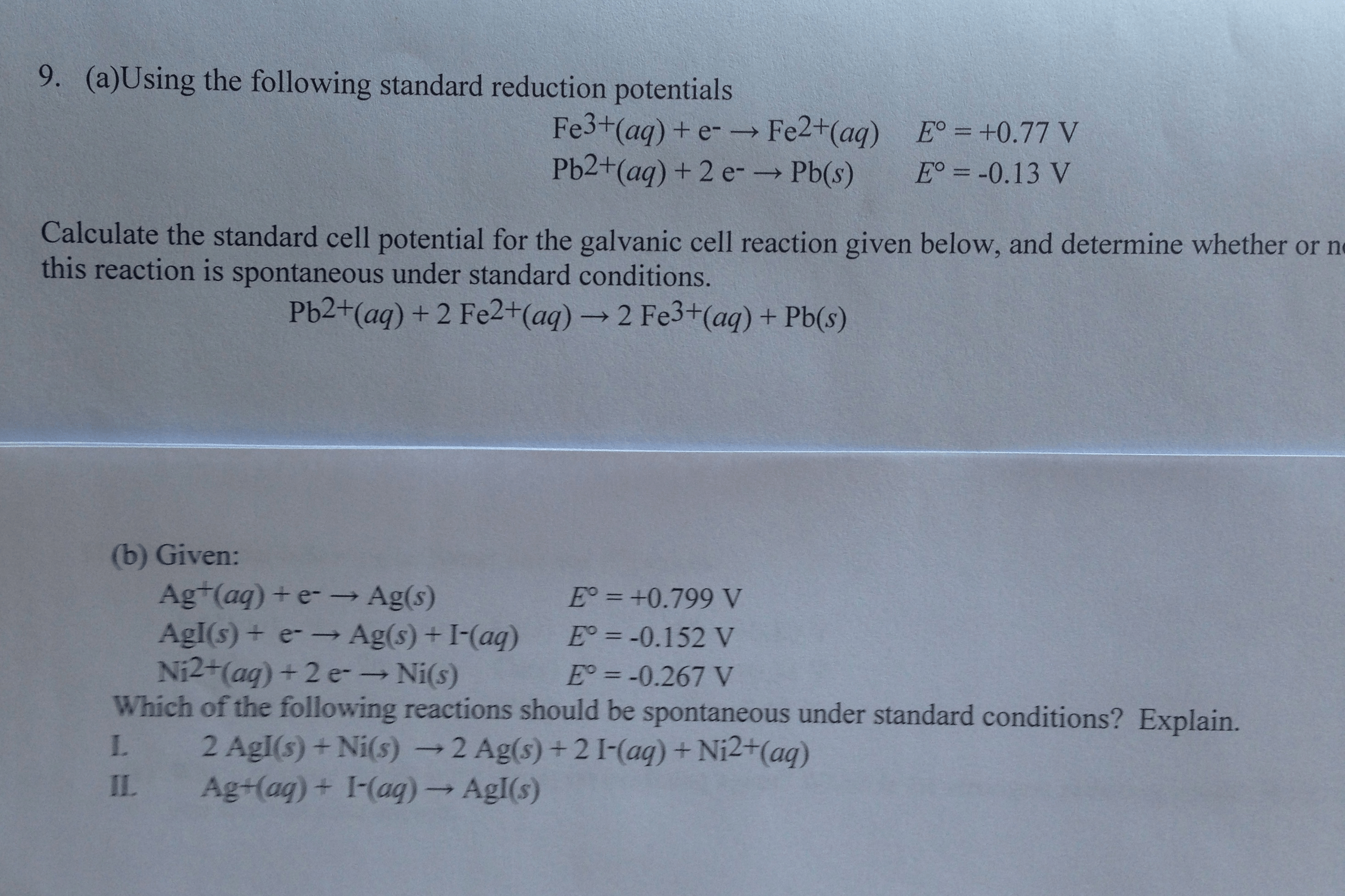 Solved Using The Following Standard Reduction Potentials