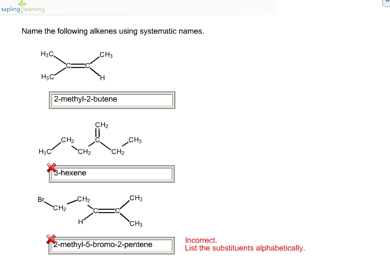 Solved Name The Following Alkenes Using Systematic Names