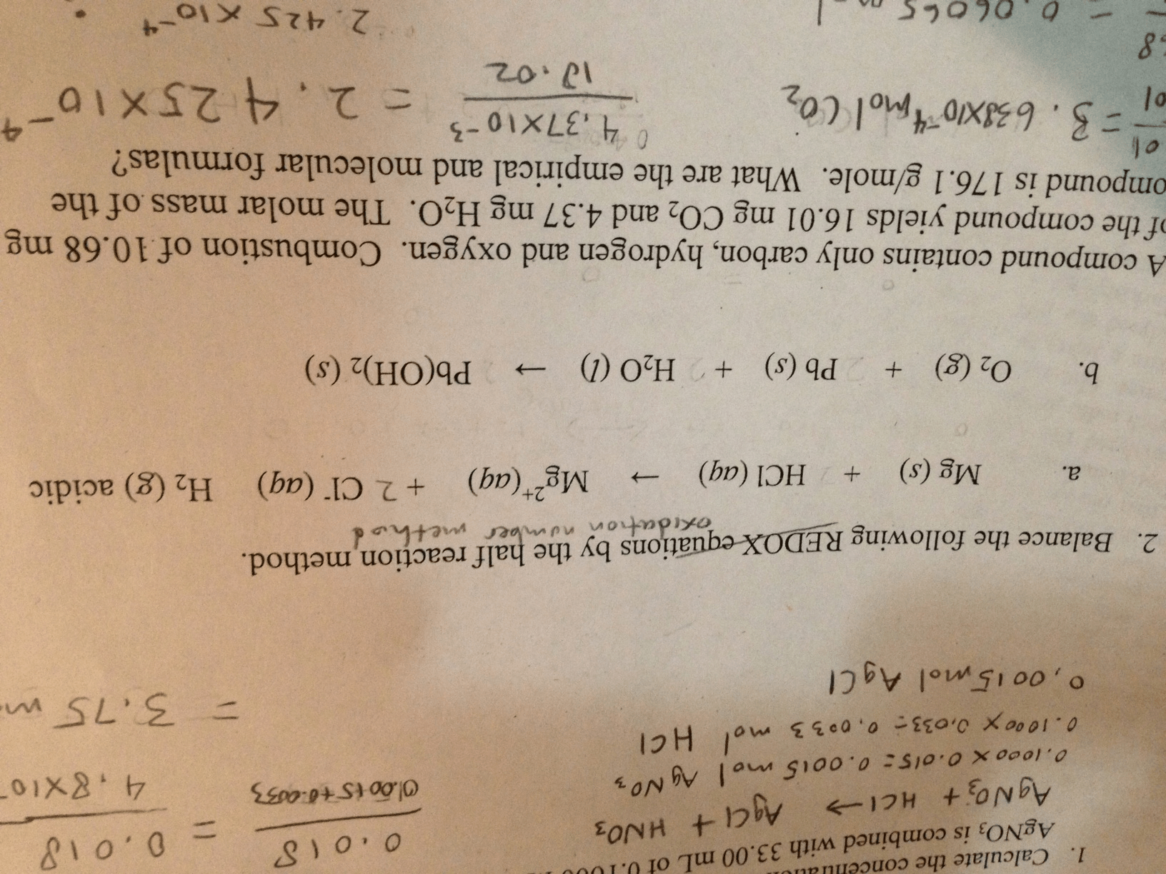 Solved Balance The Following Oxidation Number Method By T