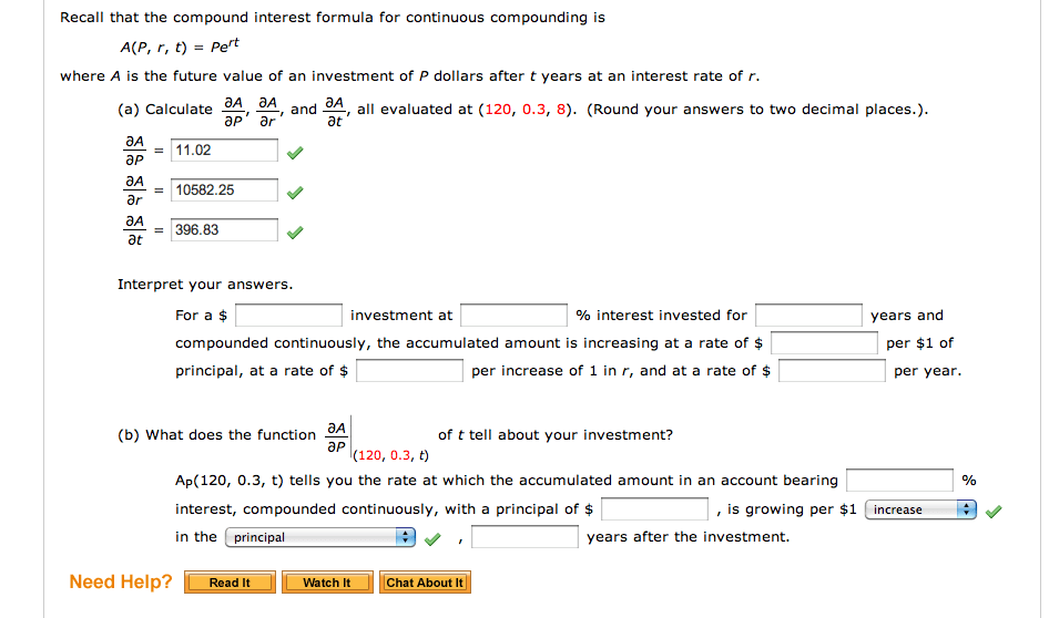 Solved Recall That The Compound Interest Formula For Cont