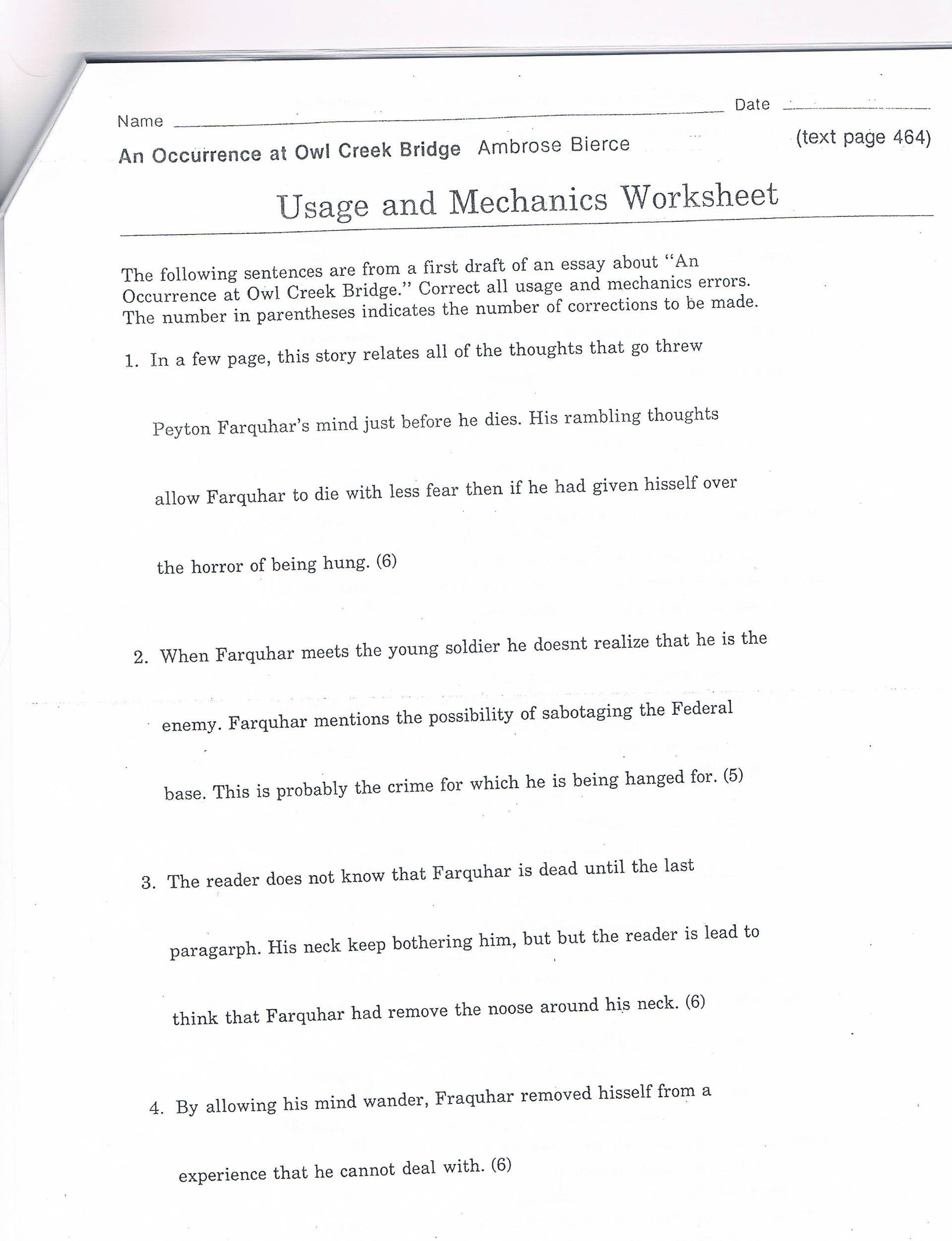Usage And Mechanics Worksheet Answers