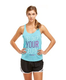 girl wearing get over your selfie tank