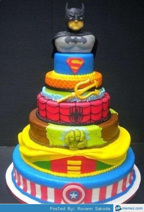 Wedding Cakes That Will Make You Want to Get Married   Superhero     Just like superheroes are not afraid  if you get this cake  you ll also no  longer be afraid  Of commitment  that is