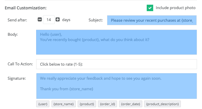 Customize the review request.