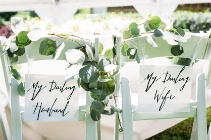 Head chair signs in the prettiest script writing