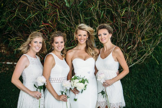 The bridesmaids picked their own ivory dresses