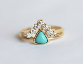 Trillion-cut turquoise engagement ring, S$1,854.58, from Etsy