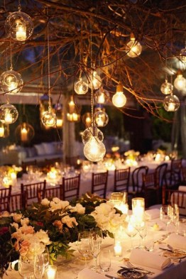 When used as a complement to a rustic wedding theme, these industrial-looking lightbulbs provide a magical ambience.
