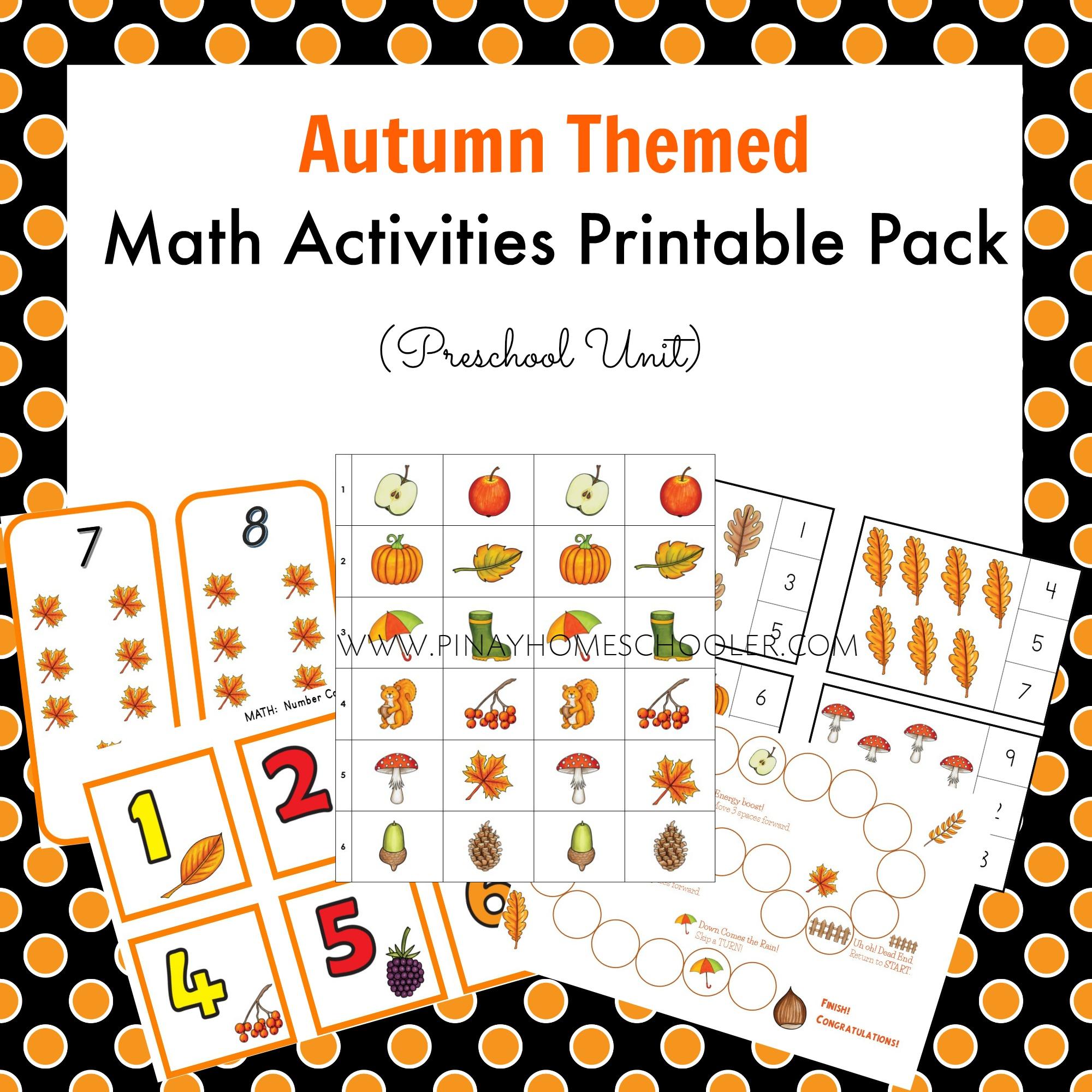 September Preschool Unit Autumn Themed Math Activities