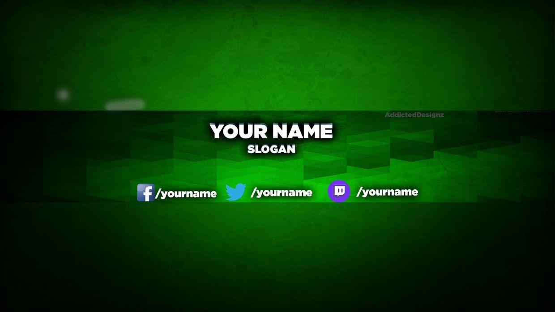 Youtube Banner Template Green 1 AddictedDesignz