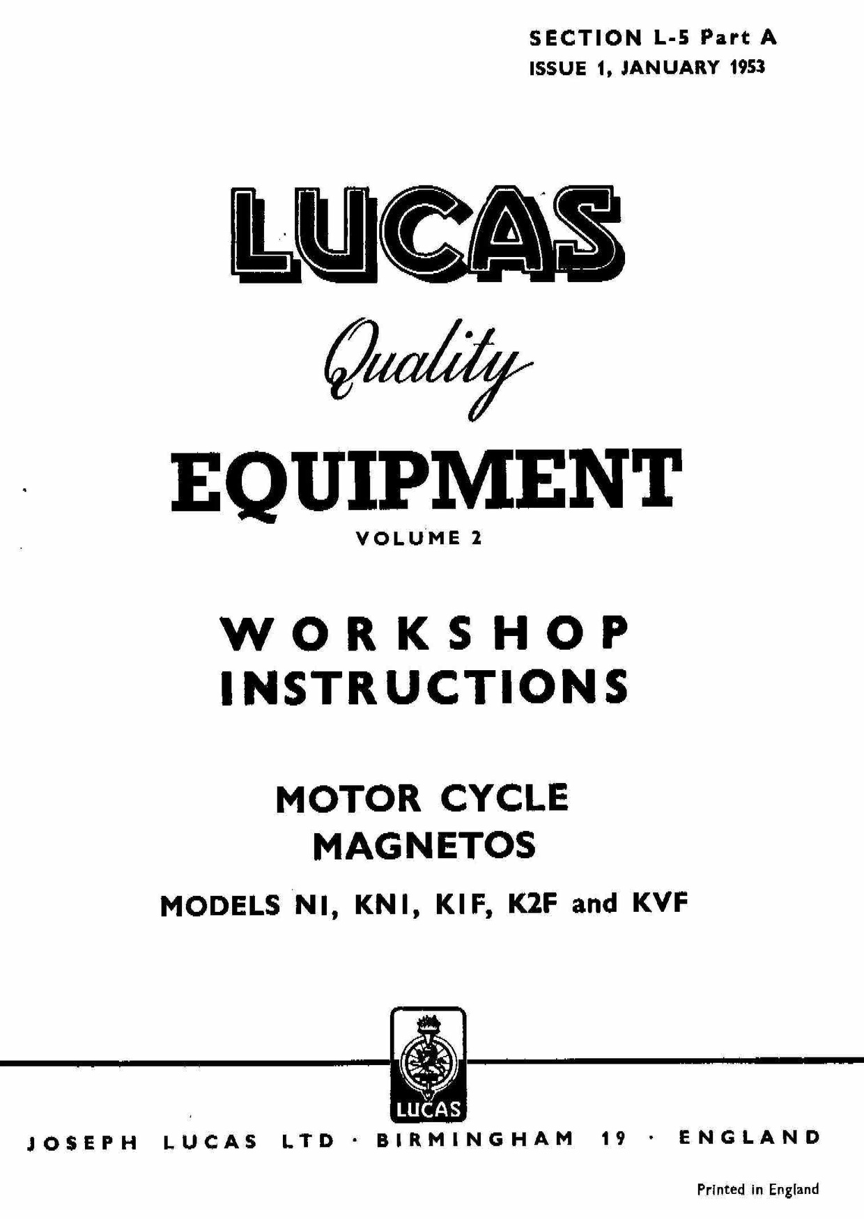 Lucas Electrical Motorcycle Workshop Instructions