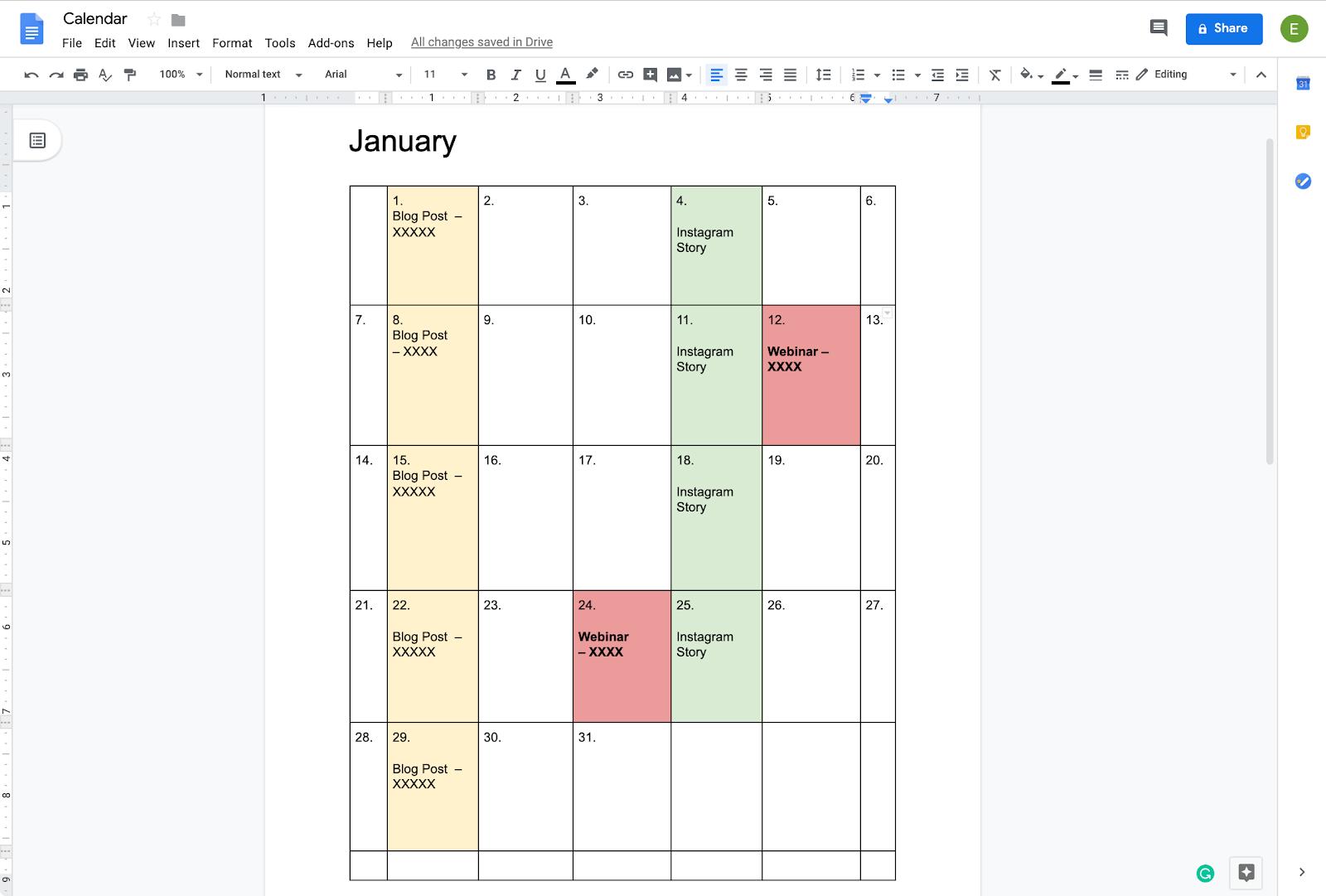 How To Create A Calendar In Docs