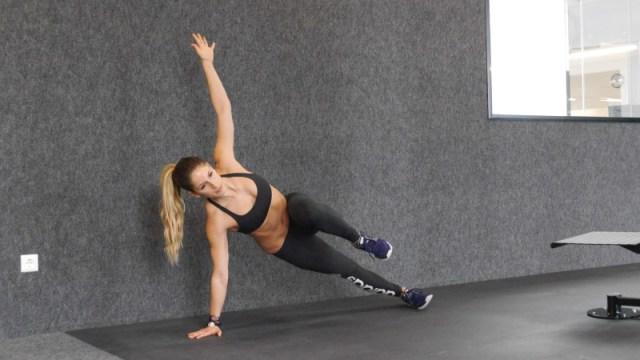 side plank knee tuck