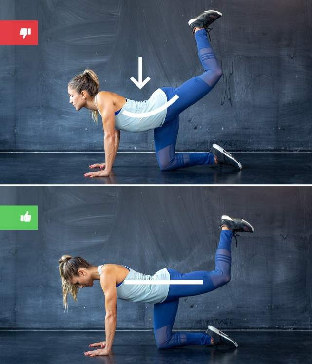 donkey kicks mistake1 - Right & Wrong: Most Common Bodyweight Exercise Mistakes