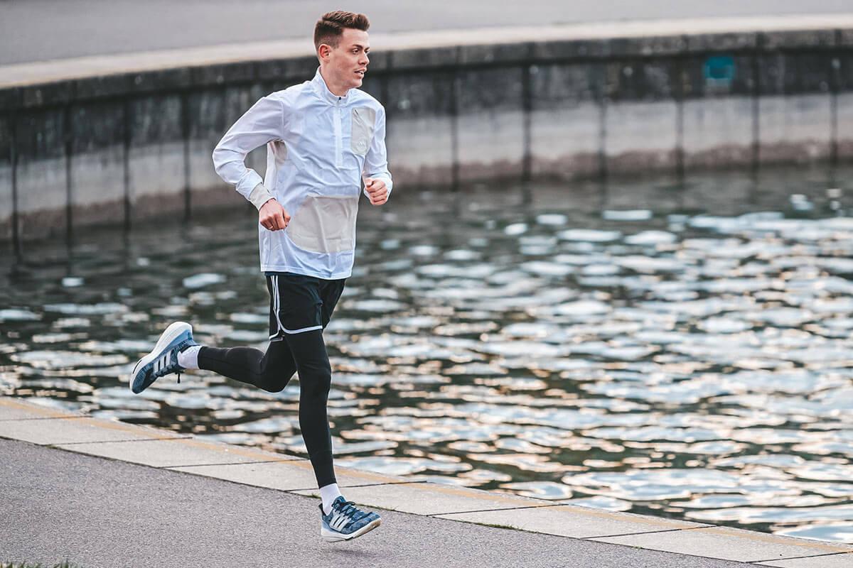 A man running on the seashore