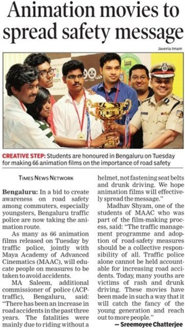 Animation Film on Road Safety Handed over to Addl Commissioner Traffic