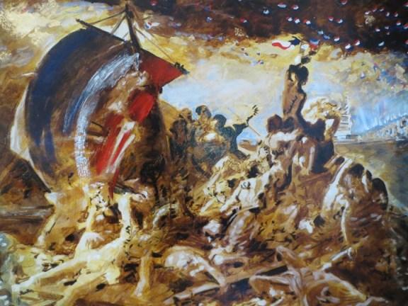 """""""France Amérique Dream"""", les Français s'échouant à Manhattan : une réinterprétation récente du Radeau de la Méduse par le peintre français Geff Strik."""