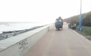Announcement for preparation for Fani along the Digha coast in India. Photo: Screengrab of video uploaded on Facebook