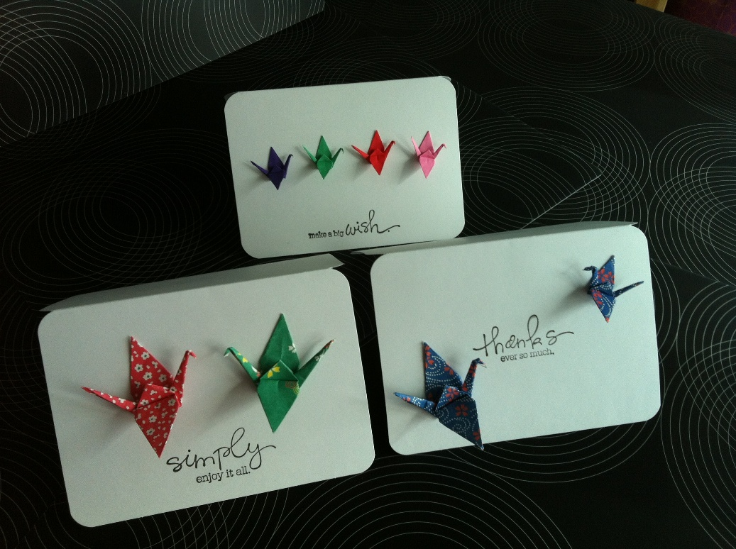 Set of 4 Origami Crane cards by Lovely Element