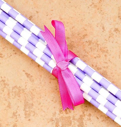 Sadie Purple Stripe Paper Straws