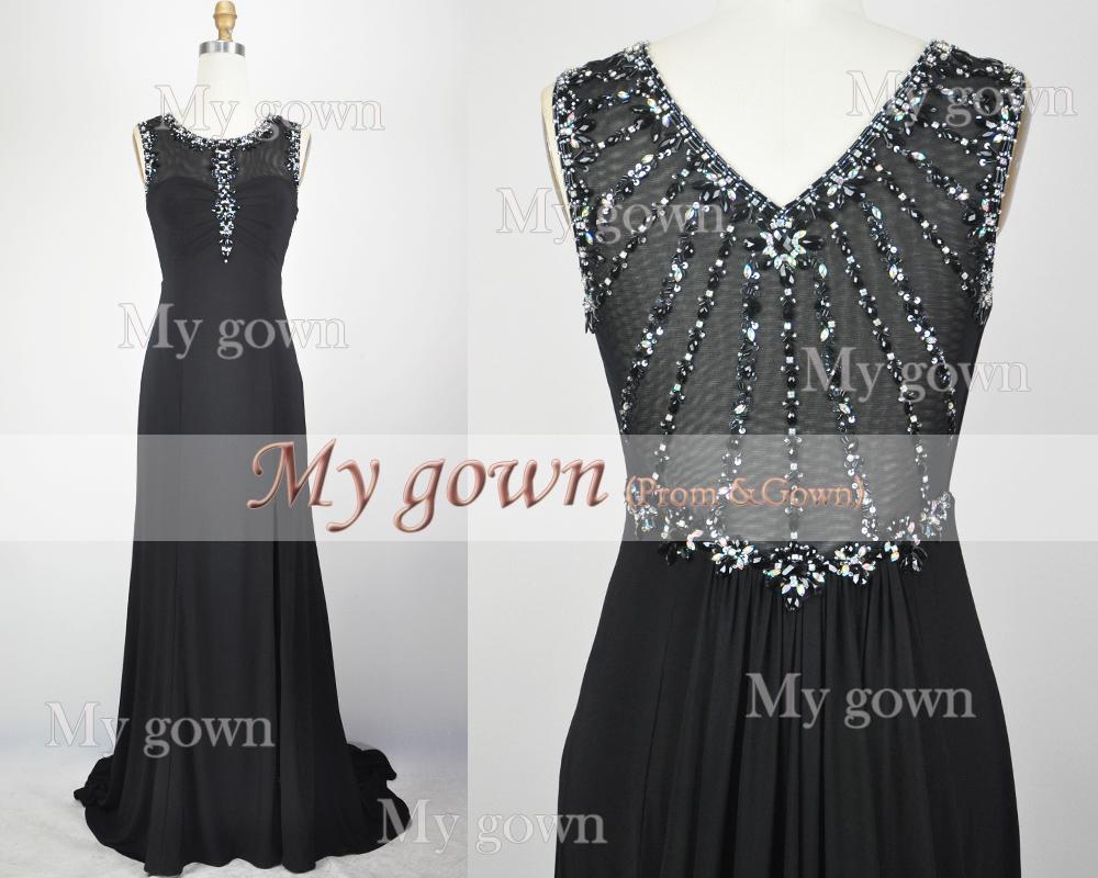 New Evening Dress,Black Beaded Crystal Prom Dress,Wedding