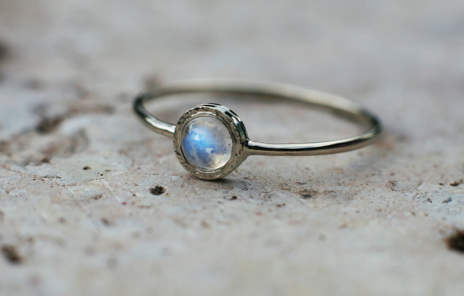 Rainbow Moonstone Ring In 14k White Gold Moonstone