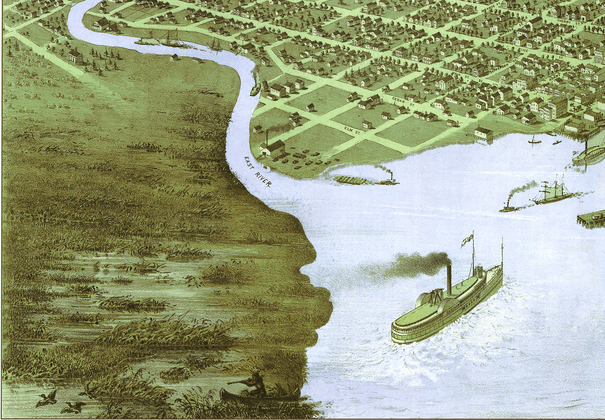 Green Bay and Fort Howard  Wisconsin in 1867   Bird s Eye View Map     Green 20bay 20and 20fort 20howard 20wi 201867 20 202 small
