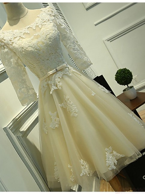 Long Sleeves Ivory Lace Tea Length Wedding Dresses Cheap