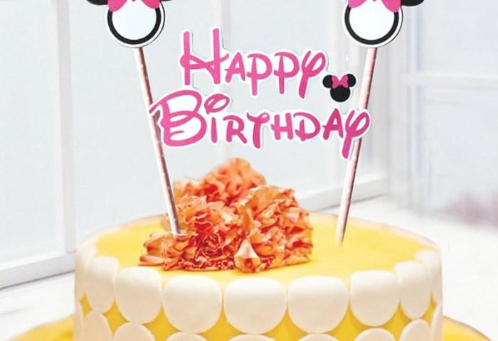 1set 2 Pcs Mickey Minnie Mouse Theme Happy Birthday Cupcake Cake