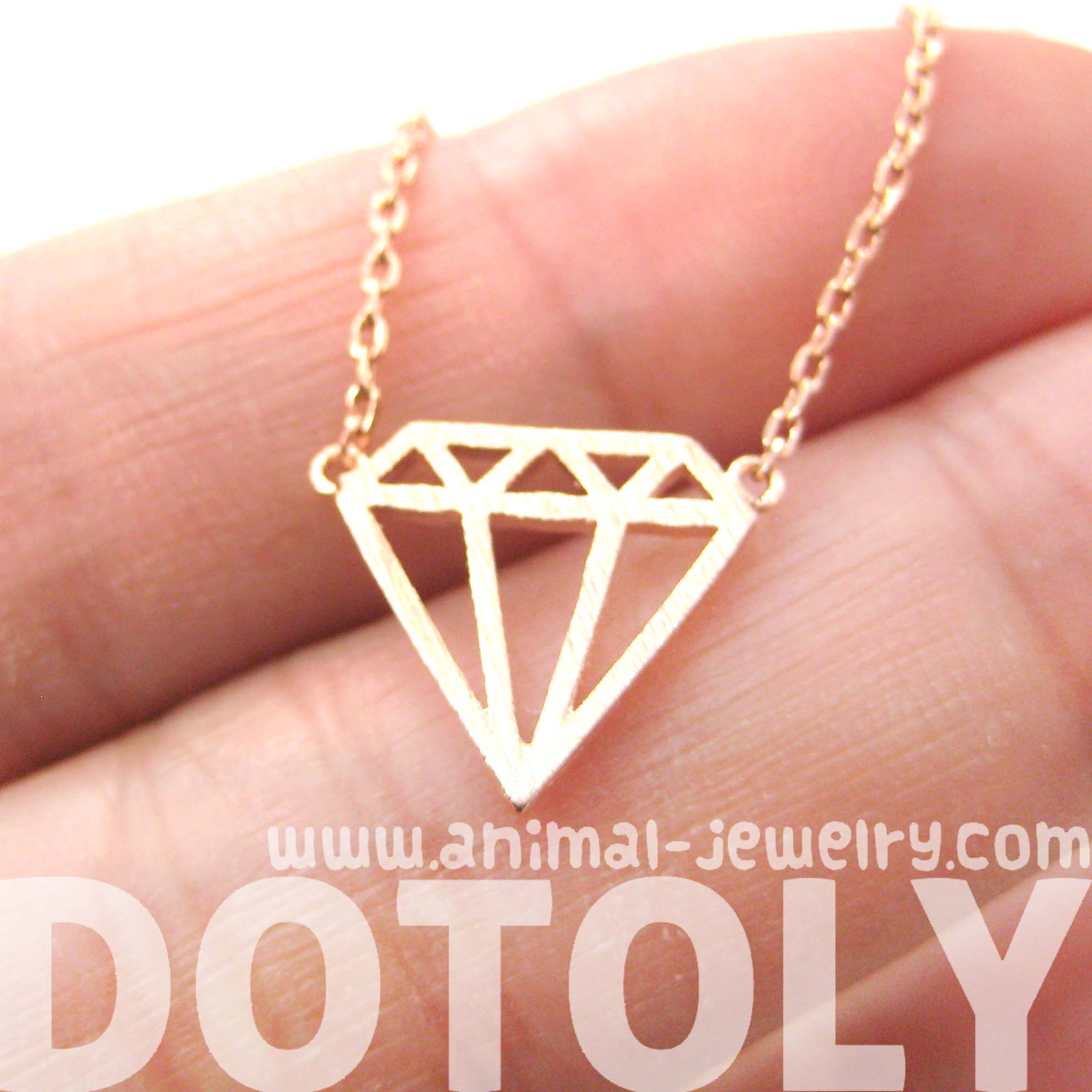 Simple Diamond Shaped Cut Out Outline Necklace In Rose