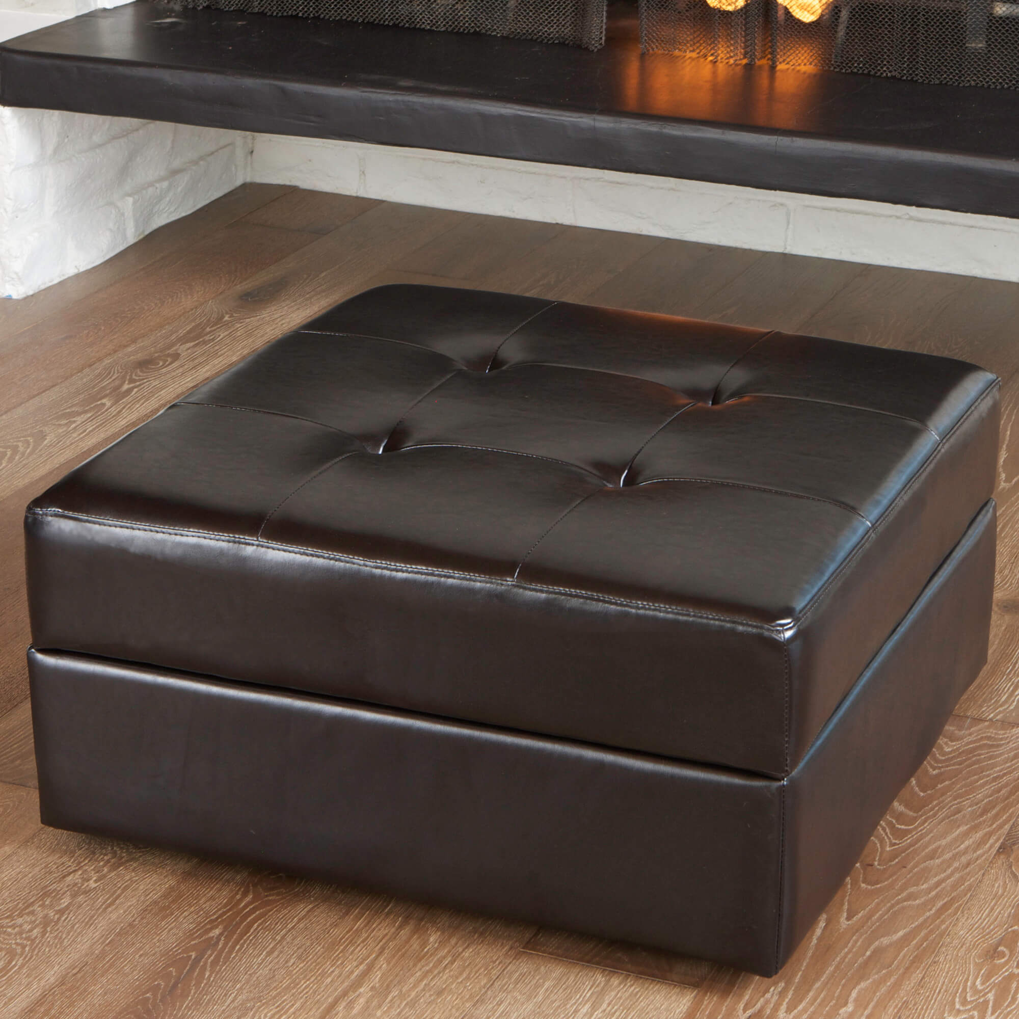 Leather Upholstered Ottoman Coffee Table