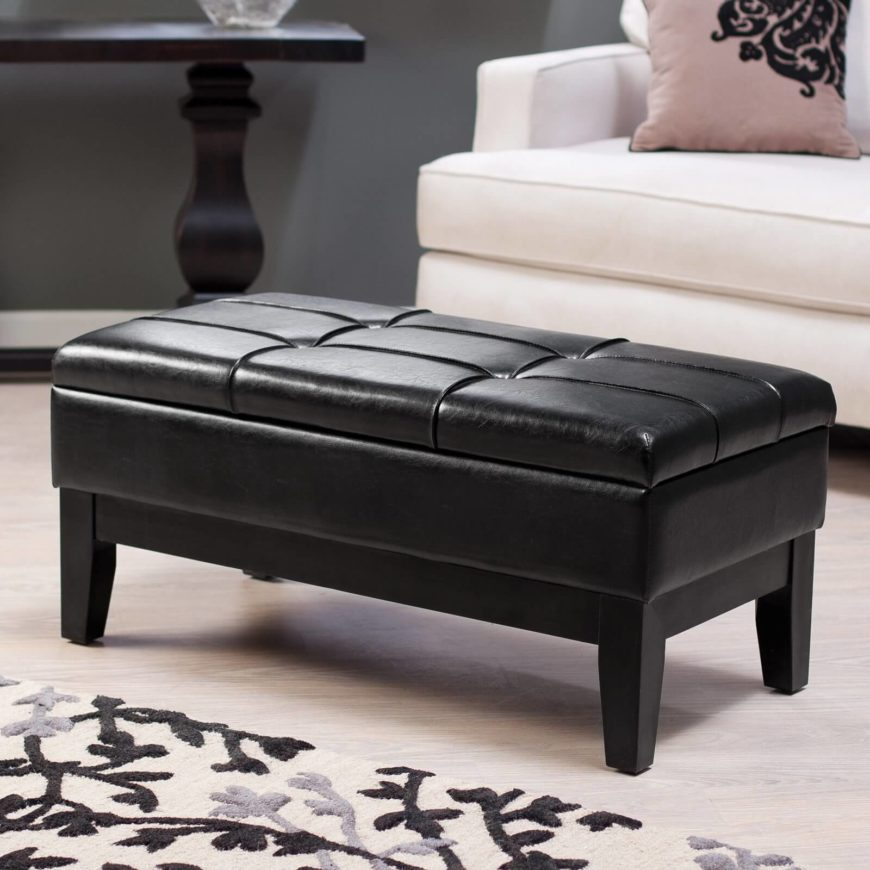 Brown Leather Ottoman Storage Bench