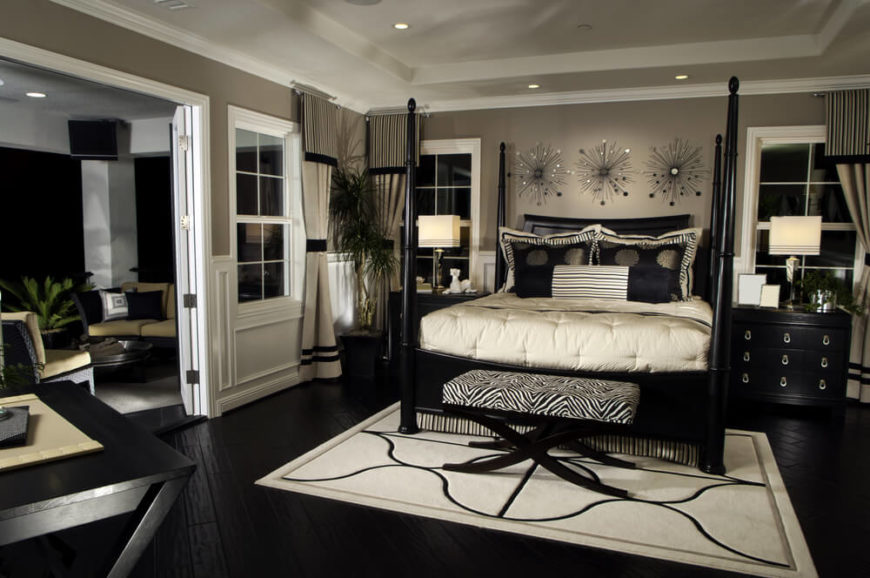 19 Jaw Dropping Bedrooms With Dark Furniture  DESIGNS  Rich bedroom with dark flooring and furniture