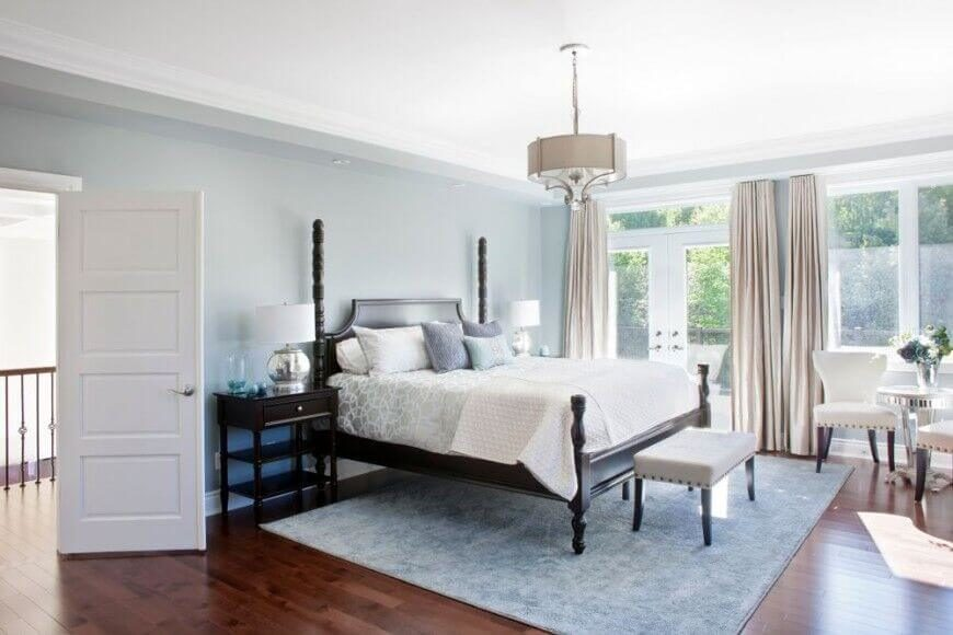 28 Beautiful Bedrooms With White Furniture  PICTURES  Pale blue sets the backdrop for this lovely room while white accents show  off the beautiful