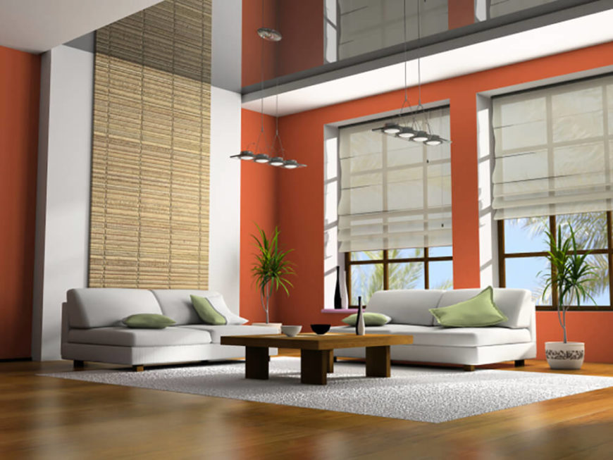 This living room is quite simple, yet still very spacious. Hints of eastern design are prevalent in this space, and the transition from hardwood flooring to plush carpet is smooth. The walls share their space with large windows, as well as a large bamboo accent feature extending from the floor to the ceiling.