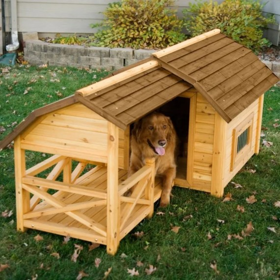34 Doggone Good Backyard Dog House Ideas A small deck portion allows the dog to lay outside of the dog house without  laying