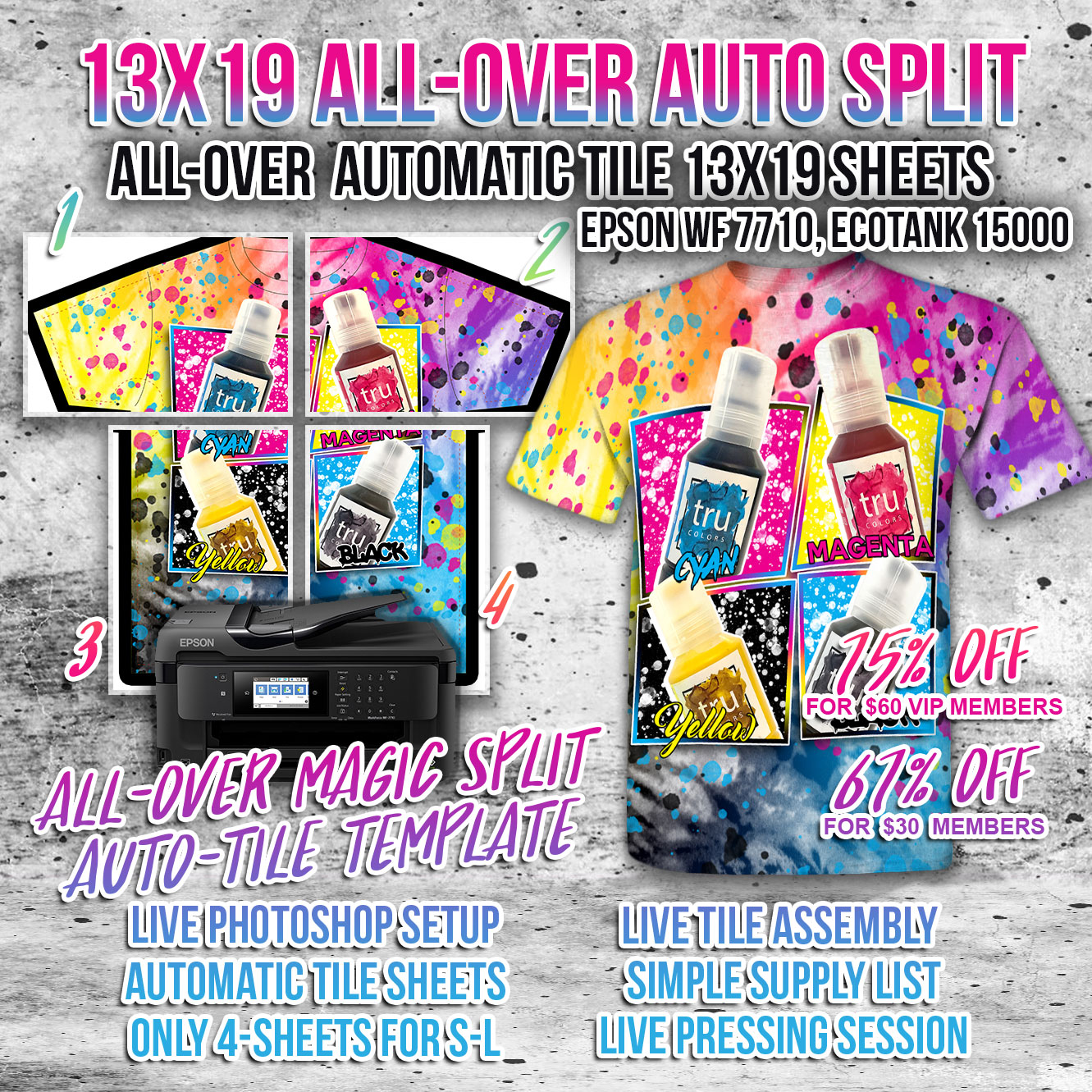 13 roll all over sublimation auto tile