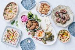 Mezze Spread featuring Fatta Hummus