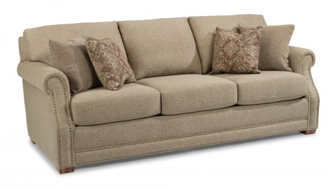 Flexsteel Furniture   Browse Sofas  Sleepers and Loveseats Fabric Sofa with Nailhead Trim