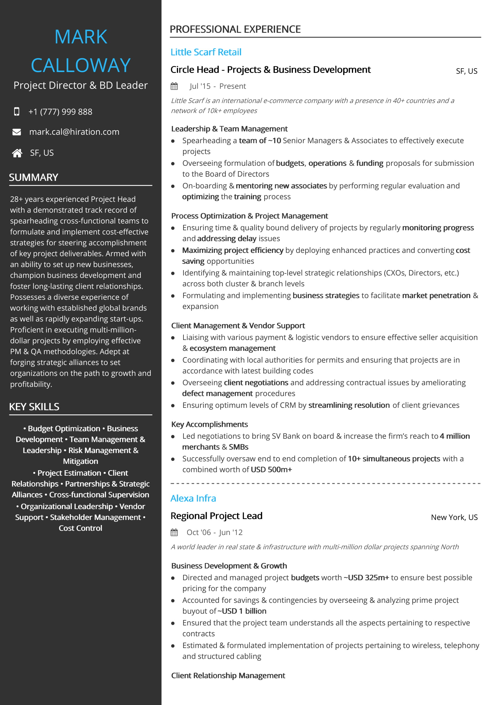 Project Management Resume Examples And Samples