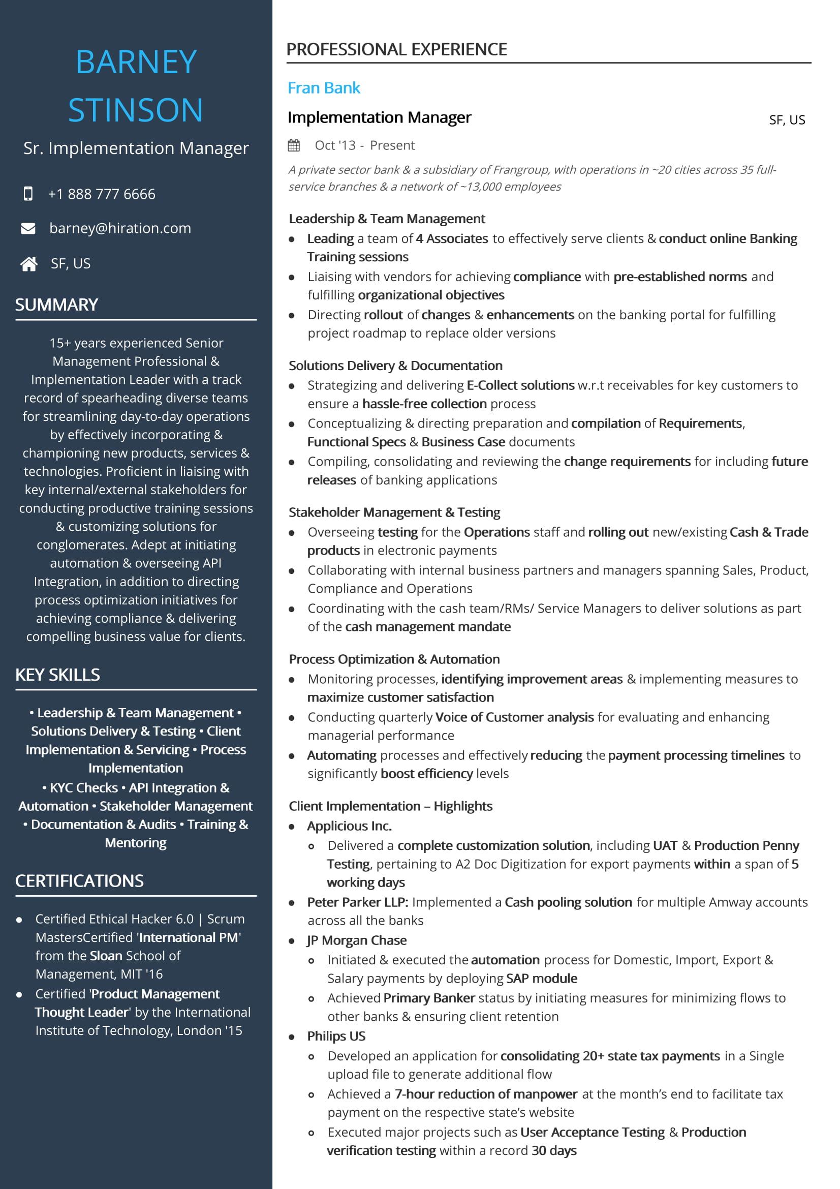 Implementation Manager Resume Bijeefopijburgnl