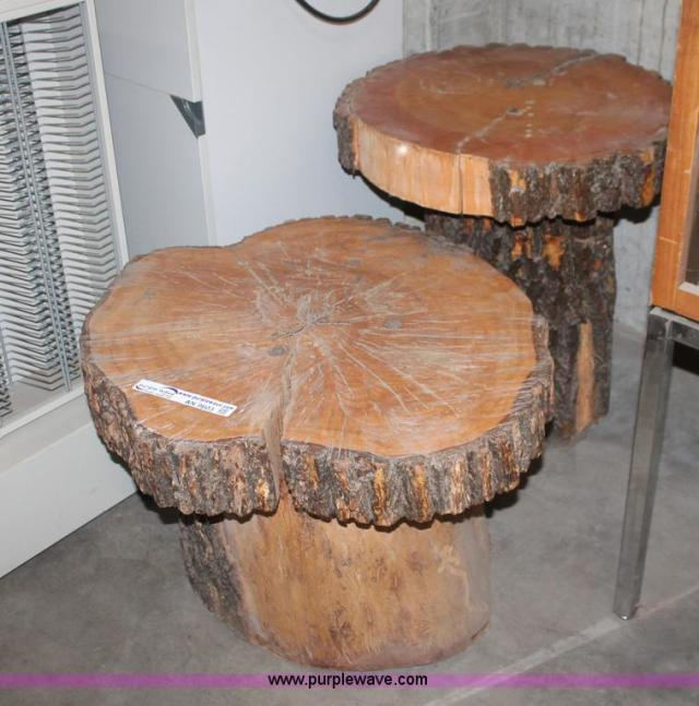 Decorative end tables , 2 rough wood log tables , Octagon table