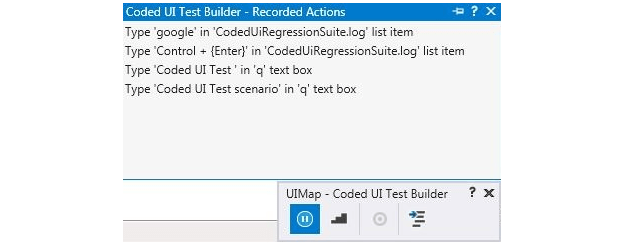 Coded UI Test Builder Screen