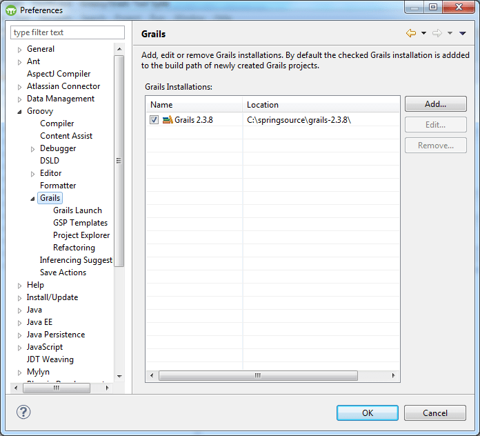 Groovy and Grails Tool Suite Configuration