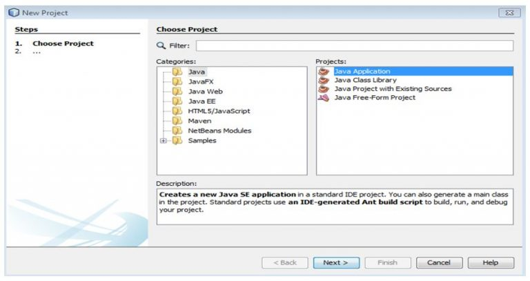 Choosing a project in NetBeans IDE