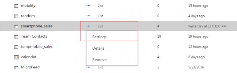 Custom List Settings Screen