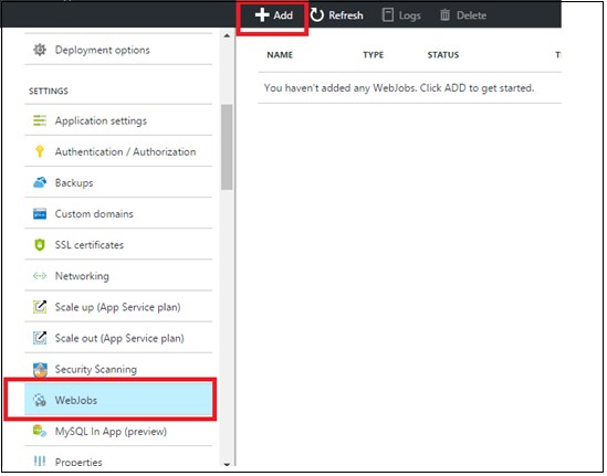Creating WebJob